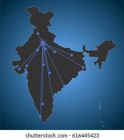 New Delhi headquarter, Asia Map