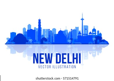 New Delhi (India ) city silhouette skyline vector background. Flat trendy illustration. Business travel and tourism concept with modern buildings. Image for banner or web site.