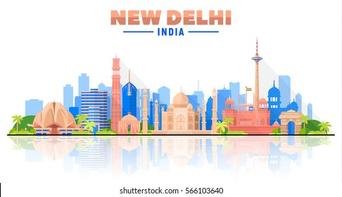 New Delhi (India ) city skyline white background. Flat vector illustration. Business travel and tourism concept with modern buildings. Image for banner or web site.