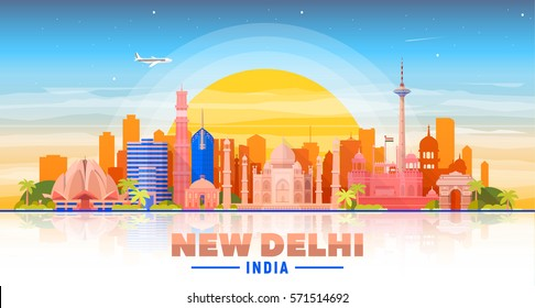 New Delhi (India ) city skyline blue sky background. Flat vector illustration. Business travel and tourism concept with modern buildings. Image for banner or web site.