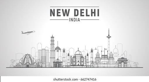 New Delhi (India ) line city skyline white background. Flat vector illustration. Business travel and tourism concept with modern buildings. Image for banner or web site.