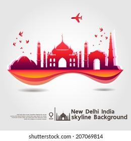 New Delhi, India, skyline background, vector Illustration