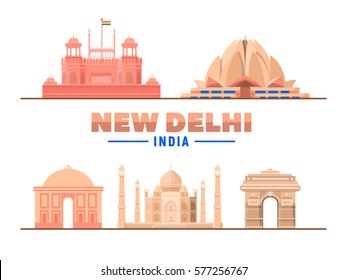 New Delhi India. Vector illustration. Most famous monument and buildings landmark.