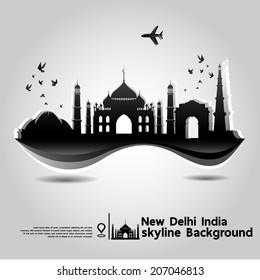 New Delhi, India,skyline background,vector Illustration