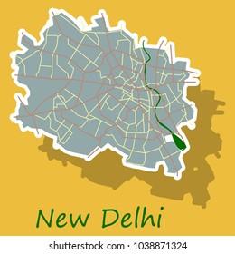 New Delhi map. Sticker style design - vector.