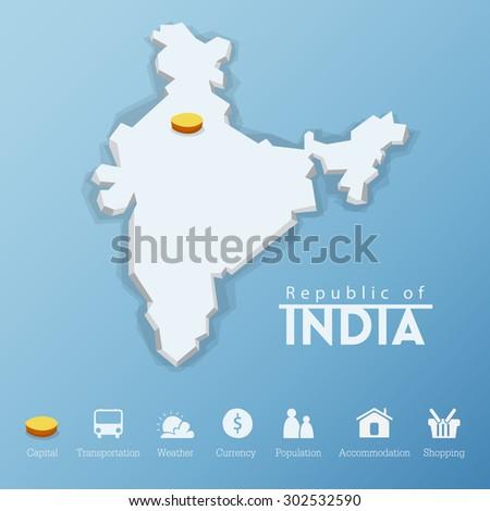 New Delhi Republic India Map Travel Stock Vector Royalty Free