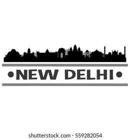 New Delhi Skyline Silhouette