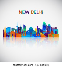 New Delhi skyline silhouette in colorful geometric style. Symbol for your design. Vector illustration.