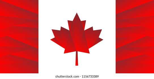 New design Canadian flag. Red maple leaf symbol. Canada immigration lawyer programs. Live and work in Canada. Concept of immigration and migration programs to North America from Third World countries