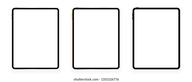 New design of gold, silver and black tablets in trendy thin frame style with shadow isolated on white. Empty screen concept. Vector illustration
