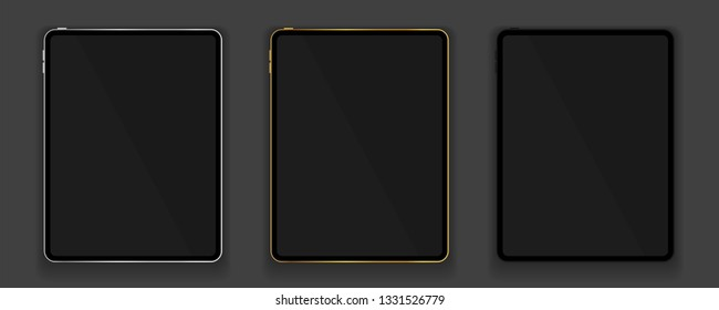 New design of gold, silver and black tablets in trendy thin frame style with shadow isolated on grey background. Empty screen concept. Vector illustration