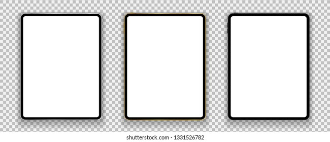 New design of gold, silver and black tablets in trendy thin frame style with shadow isolated on transparent background. Empty screen concept. Vector illustration