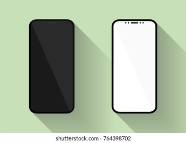 New design smartphones with blank white and black screen in flat style. Vector illustration