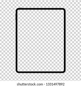 New design of tablet in trendy thin frame style isolated. Empty screen concept. Vector illustration