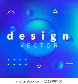New design trend with blue background and 3d cyan color elements