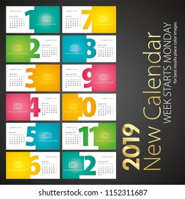 New Desk Calendar 2019 week starts monday landscape background