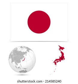 New Detailed vector  flag with Map world of Japan. Names, town marks and national borders are in separate layers. with globe That separates by Continent.