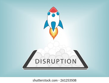 New digital disruption with disruptive business models with new technology. Rocket launching from smart phone or tablet with fire and smoke.