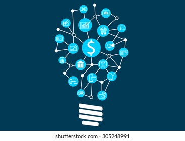 New digital technology within financial services business. Creative idea finding represented by light bulb.
