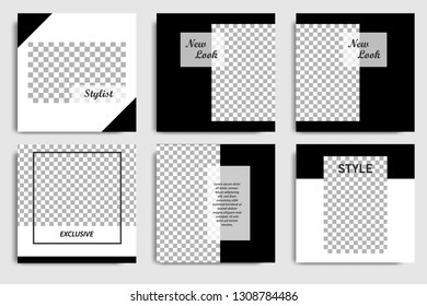 New Editable minimal square banner template. Black and white background color. Suitable for social New Editable minimal square banner template. Black and white background color. Suitable for social me