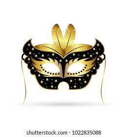 new elegant black and golden carnival mask with golden feathers on white background