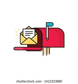 New Email Notification illustration. Letter next to mailbox. Modern Flat design icon.