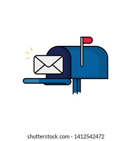 New Email Notification illustration. Letter next to mailbox. Modern design icon with editable outlines.