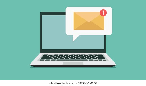 new email notification on laptop computer screen concept, flat vector illustration
