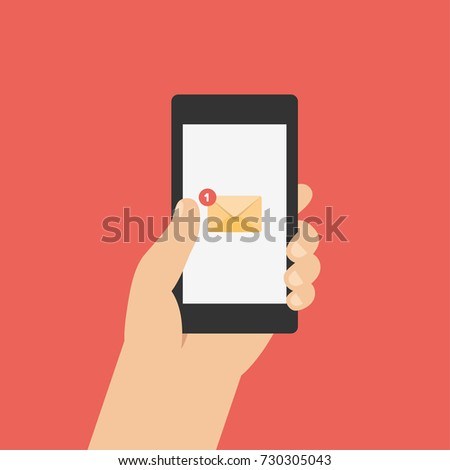 New Email Notification on smartphone screen. Hand holds the smartphone. Modern Flat design illustration.