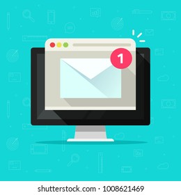 New email on computer vector illustration, flat cartoon design of desktop pc, e-mail envelope with notification received and browser, idea of newsletter message, electronic mail or letter on screen