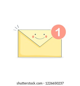 New Email, Email, open letter, Inbox message, sms with funny face. Mail notification, sending messages via internet, communication, sharing spam, news and information, promotion concept. Flat vector.