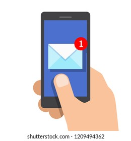 New email or sms on smartphone screen. Vector illustration