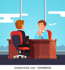 New employee & boss meeting. Executive manager sitting at desk holding hands in raised steeple gesture. Job interview CEO or HR officer and candidate. Flat style modern vector isolated illustration.