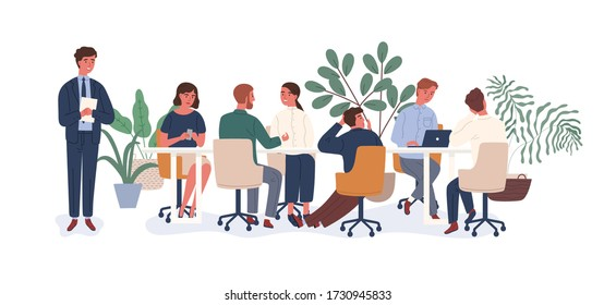 New employee at collective vector flat illustration. Male afraid public speaking in front of audience isolated on white. Chief giving dull team meeting to colleagues demonstrating lack of interest