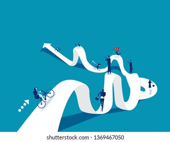 New employees with directions. Concept business vector illustration, road, Confusion.