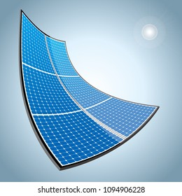 New energy concept design.Vector drawn solar panels.