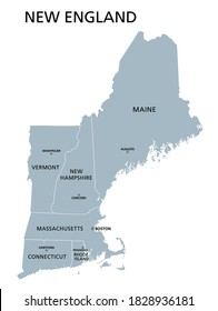 New England region of the United States of America, gray political map. The six states Maine, Vermont, New Hampshire, Massachusetts, Rhode Island and Connecticut with capitals. Illustration. Vector.