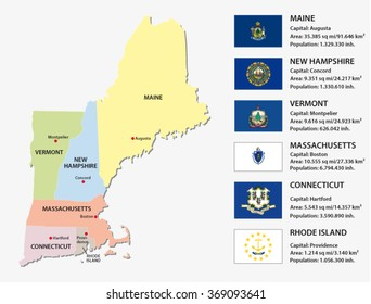 new england states map with flags