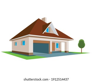 New family cottage. 3D House Icon, isolated on white background. Illustration Vector.