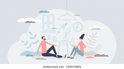 New family home and interior design imaginary planning tiny person concept. Couple sitting on floor and thinking about house style and furniture arrangement as goods silhouette vector illustration.
