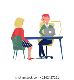 New female employee applicant and boss meeting at his office, jobseeker and employer sitting at the table and talking vector Illustration on a white background