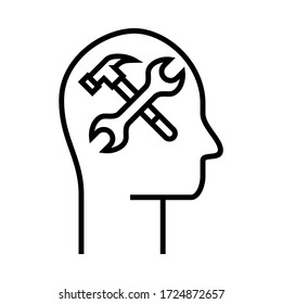 New flat trendy icon. Inside the head vector with hammer and spanner symbol illustration