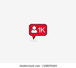 New Follower 1K Notification Vector Illustration