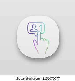 New follower button click app icon. UI/UX user interface. Web or mobile application. Social media subscriber. New friend. Hand pressing button. Vector isolated illustration