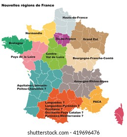 New French regions. Nouvelles regions de France.