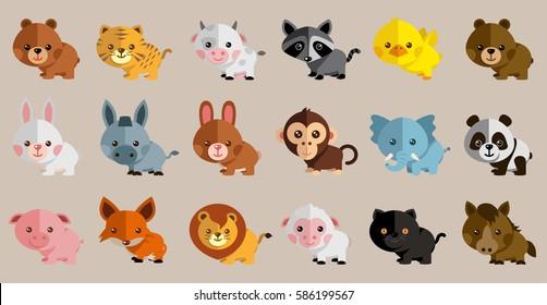 New Funny Animal Vector Set