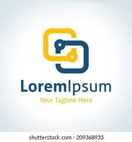 New future technology bond partnership frame logo icon