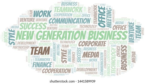 New Generation Business word cloud. Collage made with text only.
