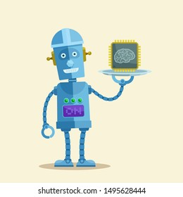 New generation of microprocessors. Science technical progress. Robot holding silver tray with new cpu. Vector illustration, flat design, cartoon style. Isolated background.