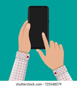 New generation smartphone with frameless edge display in hand. White blank and original screen. Phone electronic device with touchscreen. Vector illustration in flat style